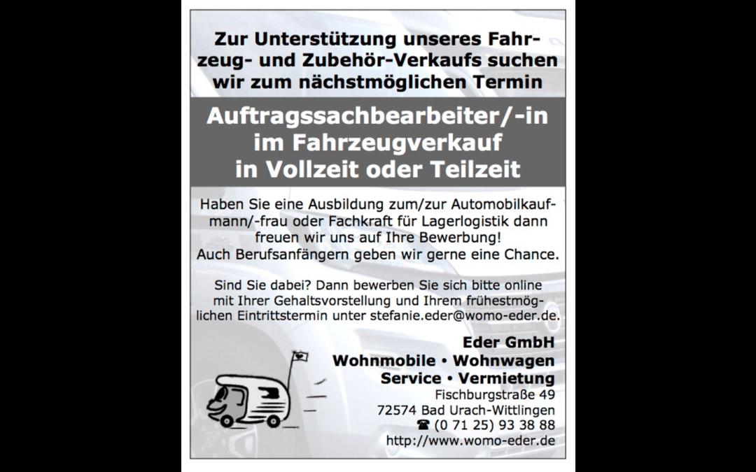 Offene Stellen bei Womo-Eder – Auftragssachbearbeiter/-in im Fahrzeugverkauf