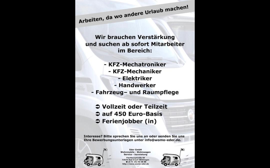 Offene Stellen bei Womo-Eder – Mechaniker-Mechatroniker-Elektriker-Handwerker-Fahrzeugpflege
