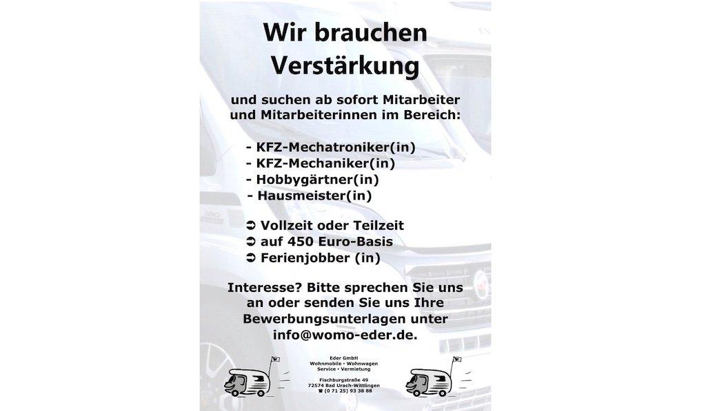 Womo-Eder sucht – KFZ-Mechatroniker-KFZ Mechaniker
